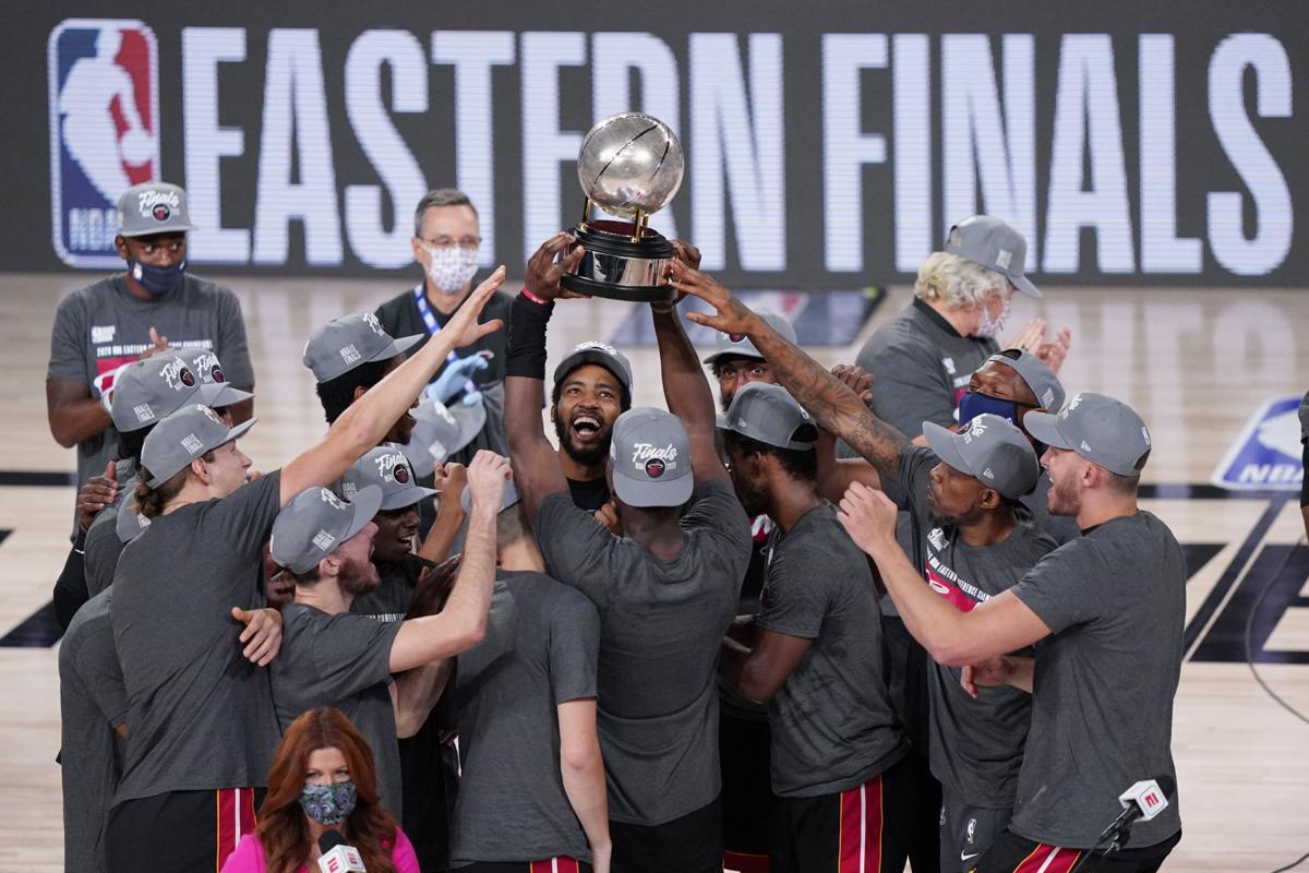 Miami Heat celebrate advancing to NBA Finals, AP photo