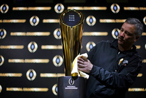 College football championship trophy, AP photo