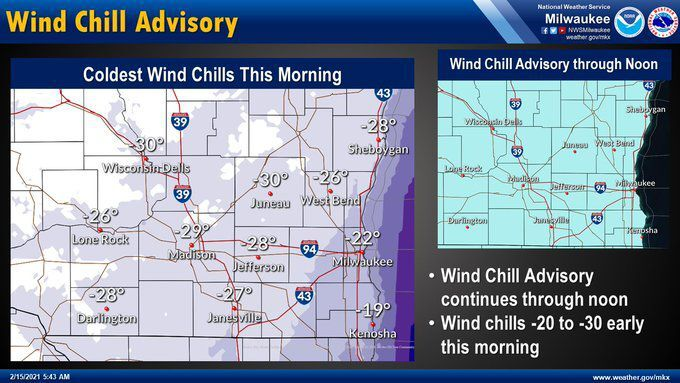 Wind chill advisory by National Weather Service