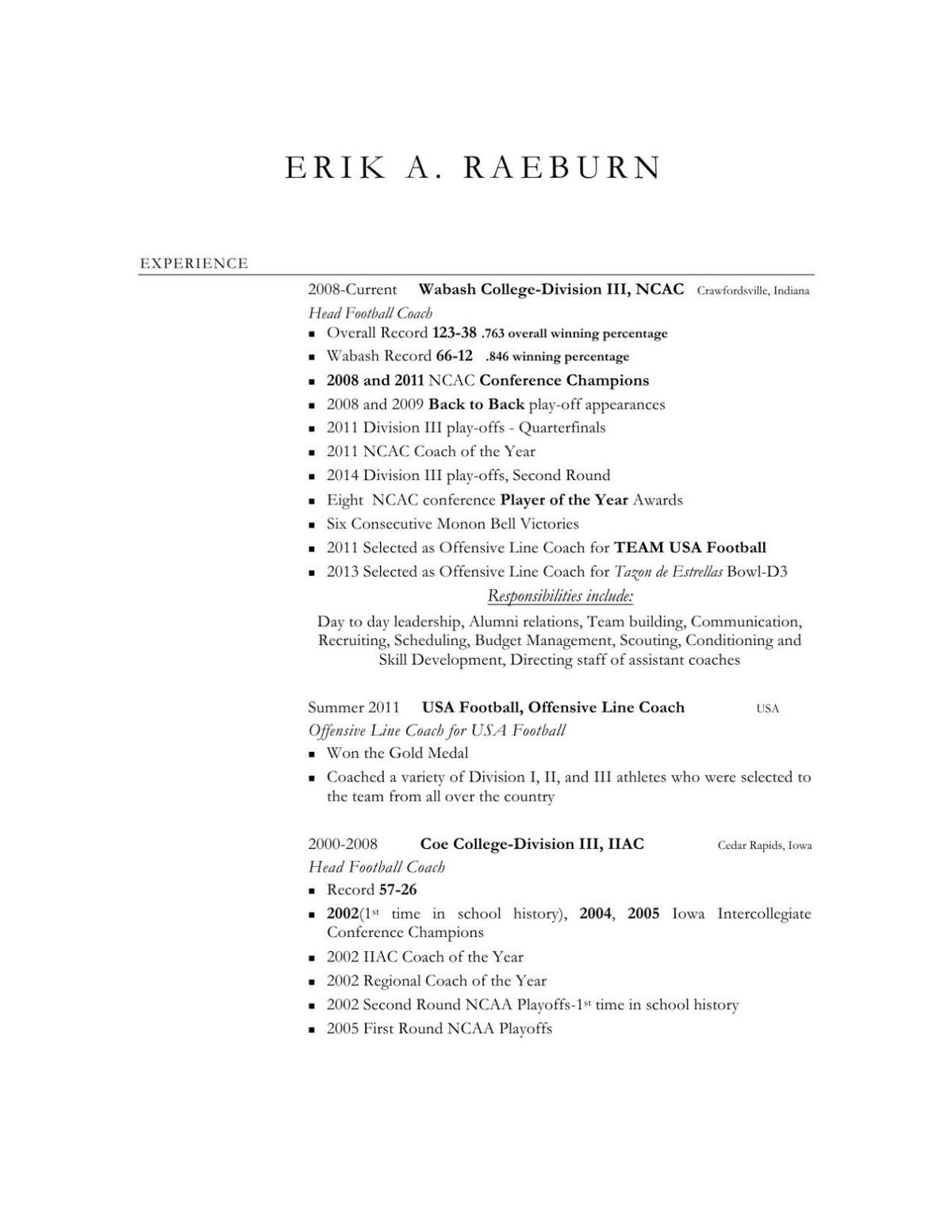 erik raeburn resume for uw whitewater head football coach candidate
