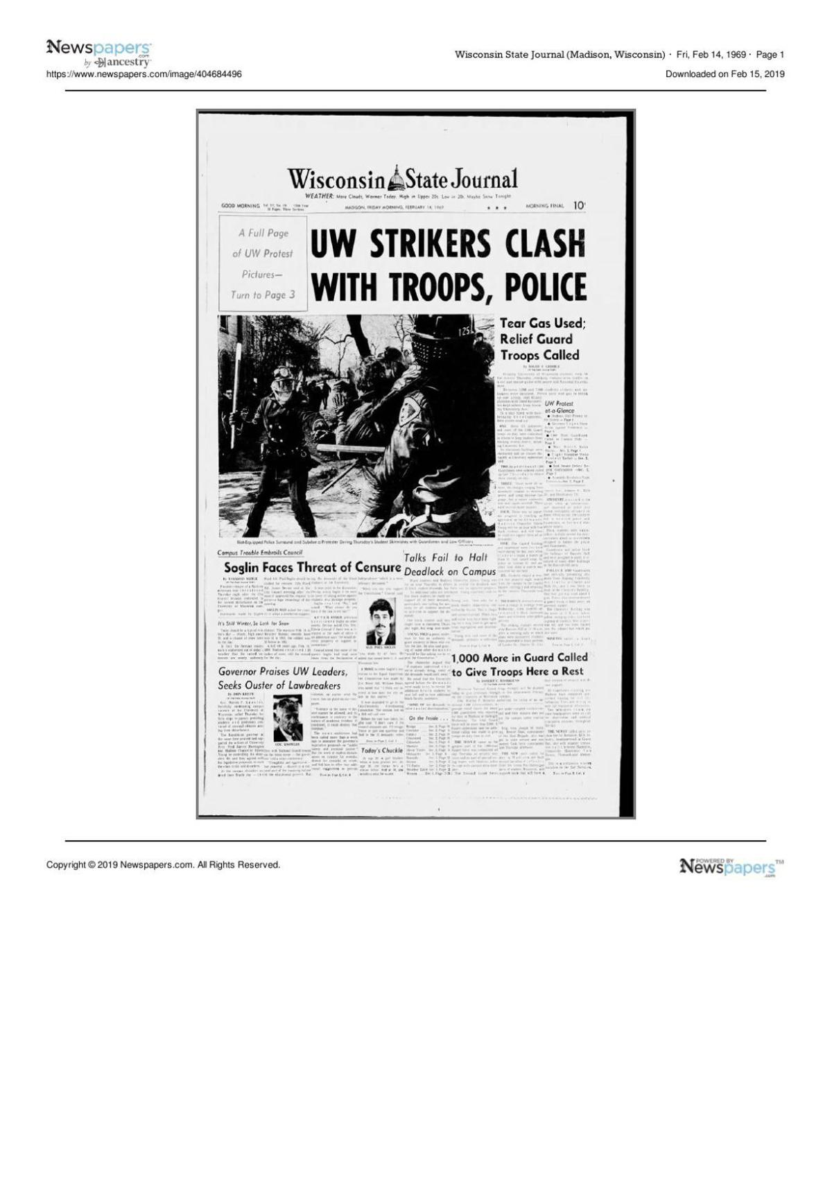 Wisconsin State Journal Front Page, Feb. 14, 1969
