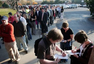 Voters waiting in line in November 2008