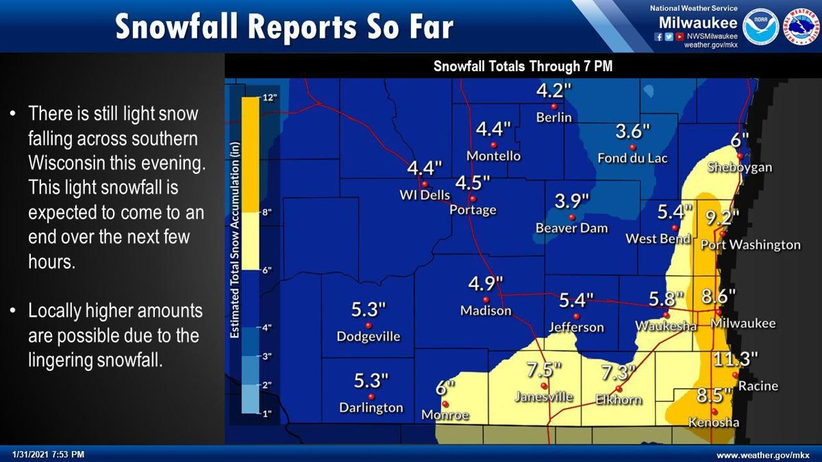 Snow totals by National Weather Service