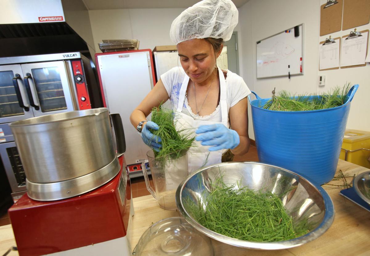 Anna Hill making pesto