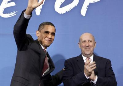 Barack Obama and Jim Doyle at Wright Middle School