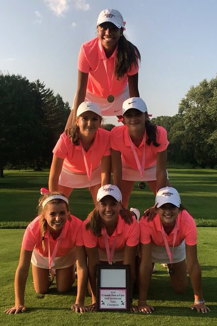 Prep girls golf photo: Middleton girls golf team celebrates Crusade Fore a Cure title