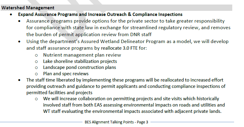 DNR talking points on permit changes