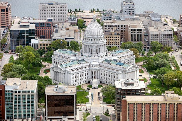 Downtown Madison skyline - 77 Square Miles Surrounded by Reality motto