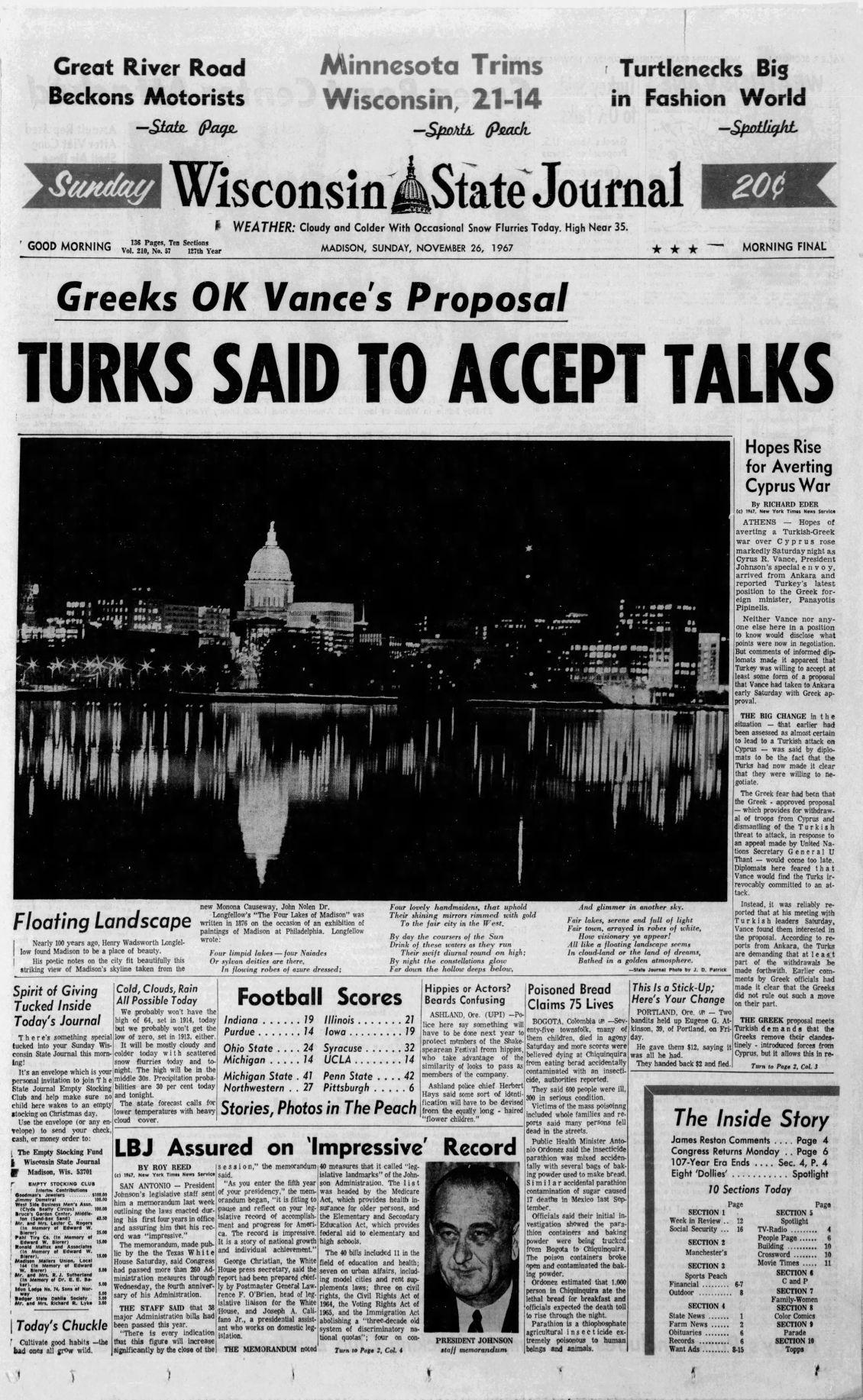 Wisconsin State Journal Nov. 26, 1967