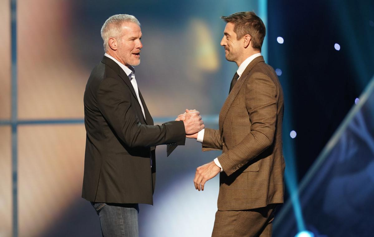 Brett Favre, Aaron Rodgers, NFL Honors show 2019, AP generic file photo