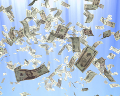 Money floating in air for campaign cash stories