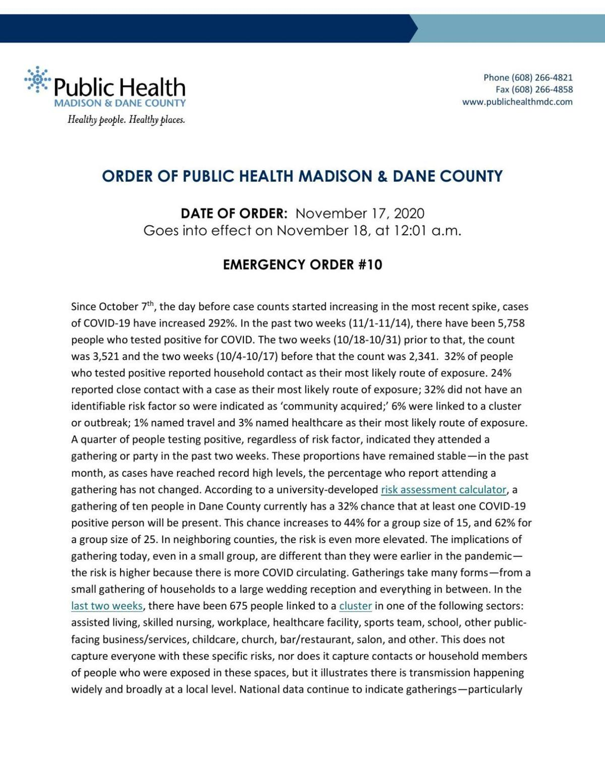 Dane County Emergency Order #10