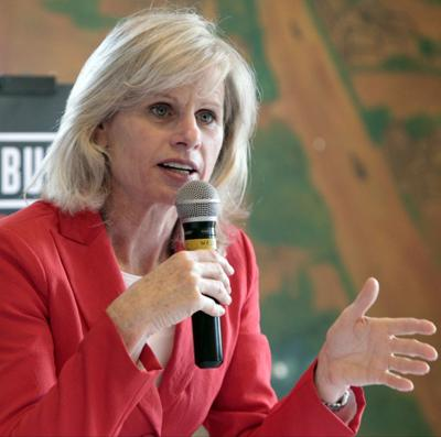 Mary Burke speaks during education roundtable at UW-Madison