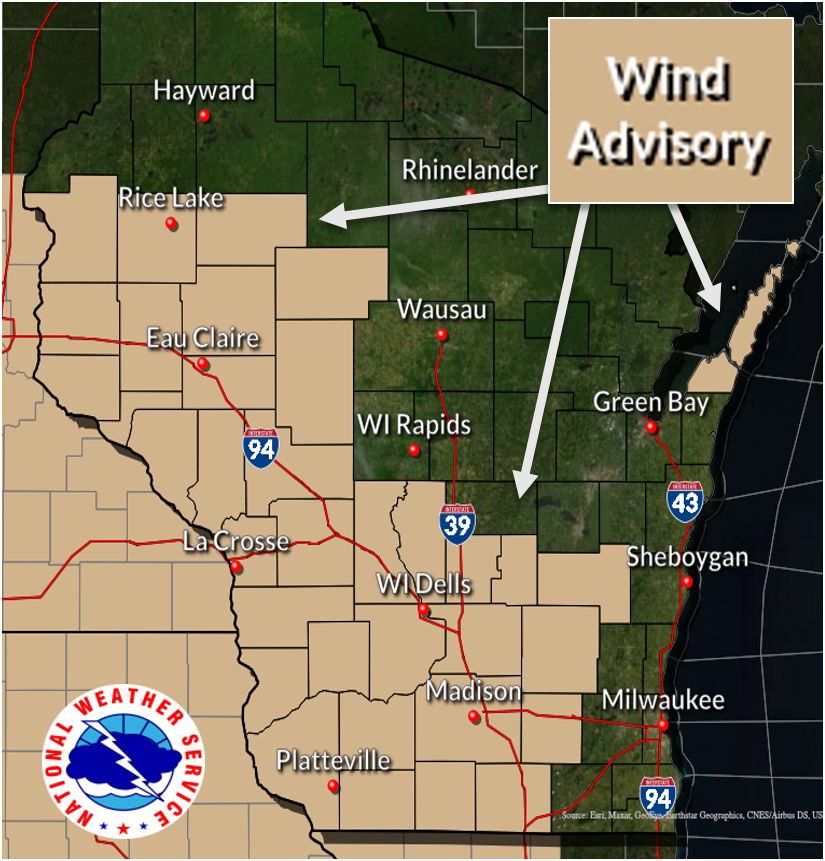 Wind advisory by National Weather Service