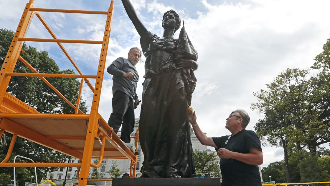 Watch now: 'Forward', Heg statues restored to Capitol Square after being toppled last year
