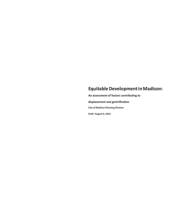 Equitable Development in Madison draft report