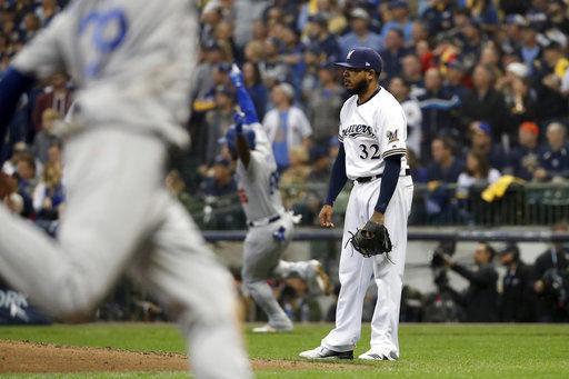 Jeremy Jeffress Dodgers homer, AP photo