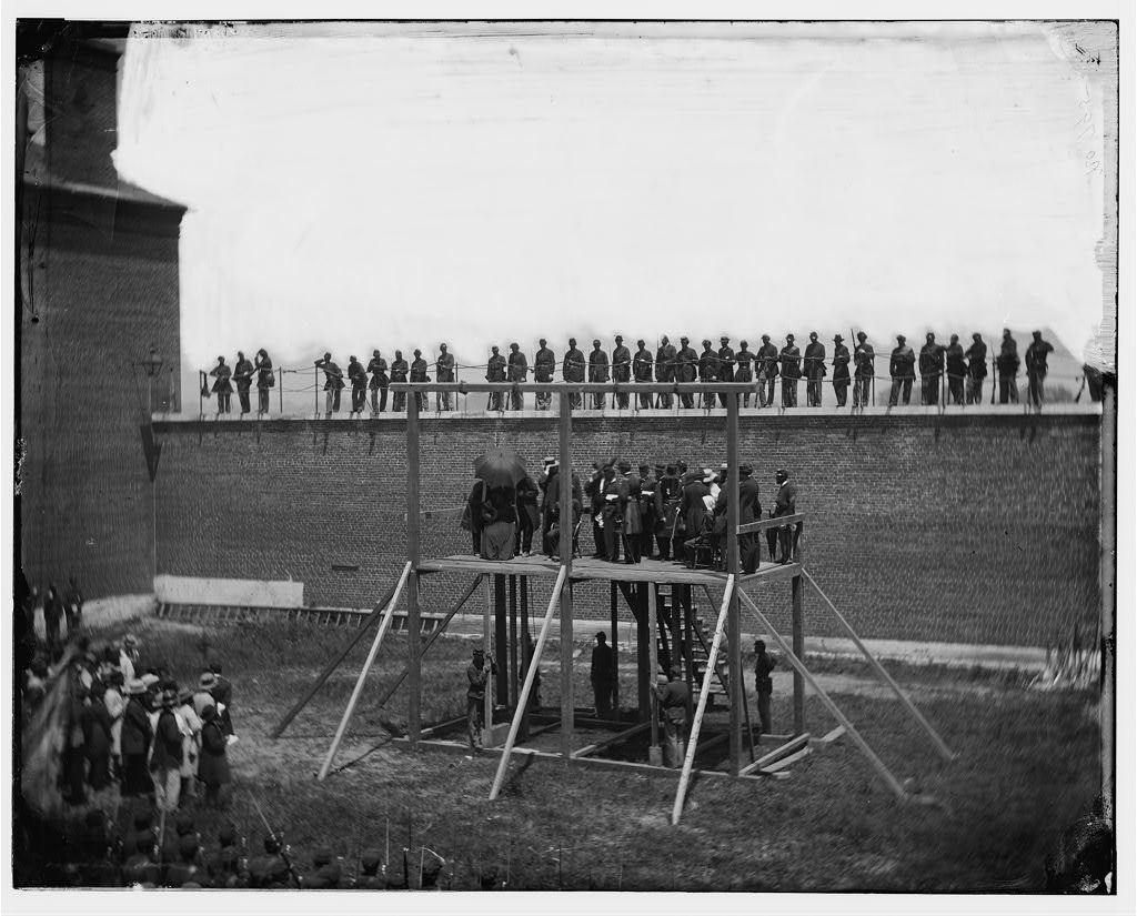 The hanging of Mary Surratt in the assassination of President Abraham Lincoln