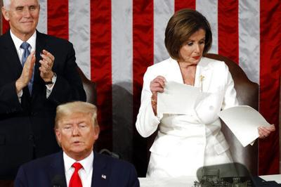 Pelosi rips up Trump speech. Right there on the podium. (copy)