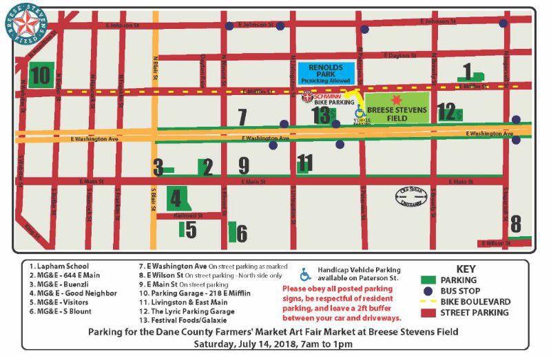Street parking for Dane County Farmers' Market