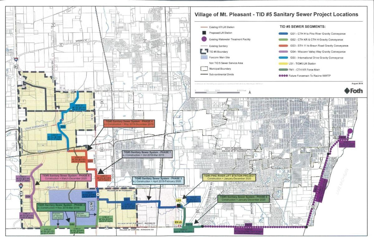 CLICK: TID 5 sewers color map in Mount Pleasant, provided by Racine Water Utility