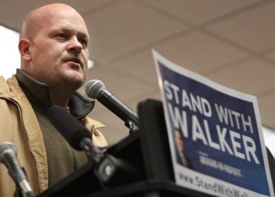 Joe the Plumber speaks at Madison protest 3/6/11