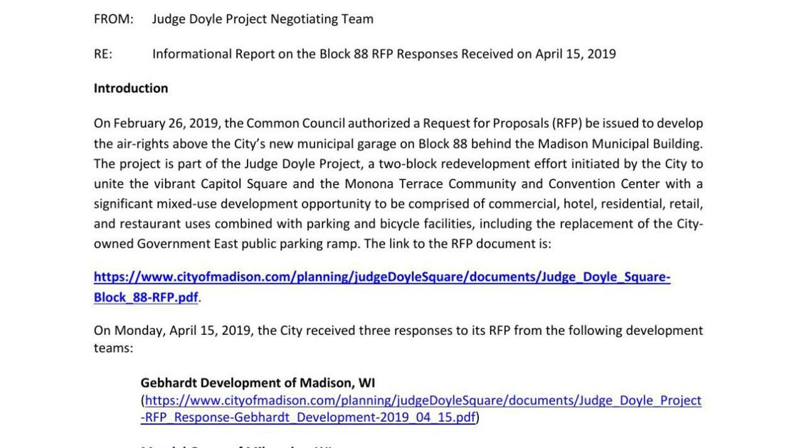 Informational Report on the Block 88 RFP Responses | | madison com