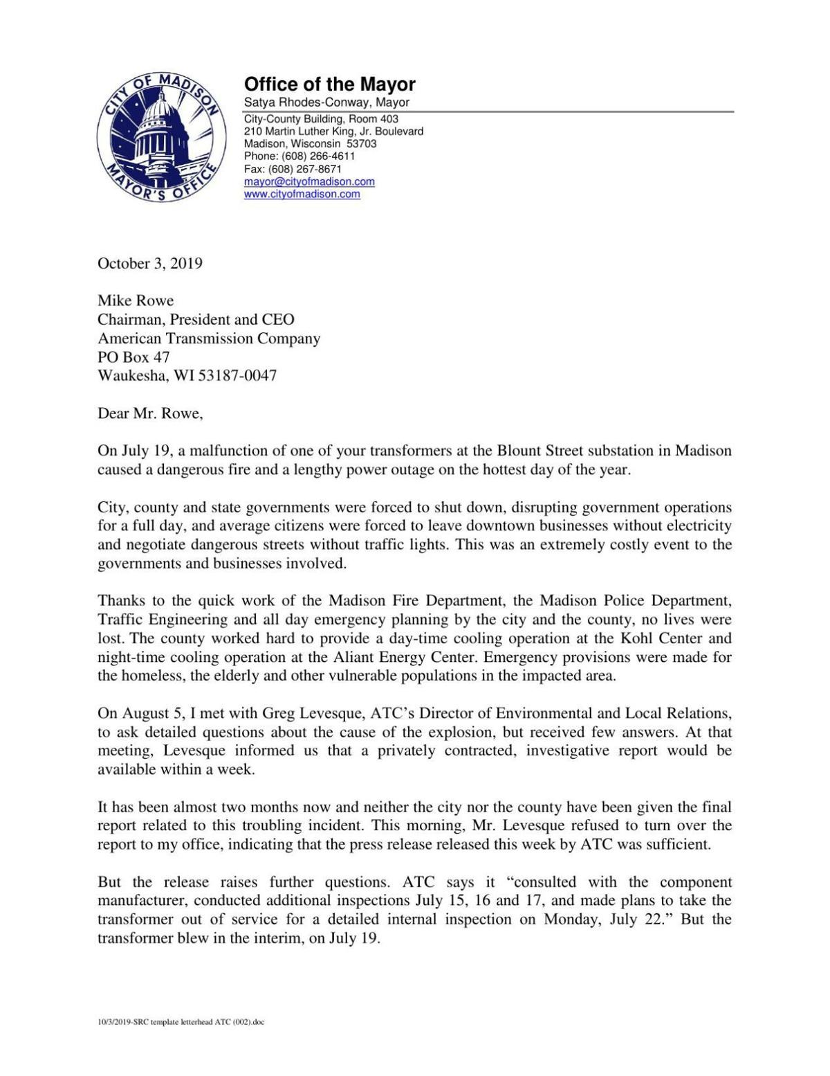 Mayor letter to ATC
