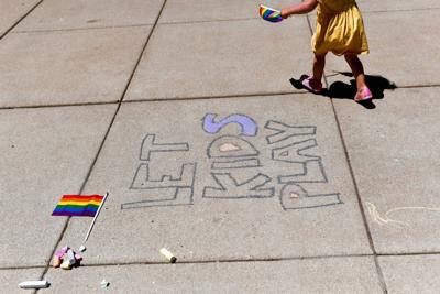 PHOTOS: LGBTQIA advocates rally against bills barring transgender girls in girls' sports
