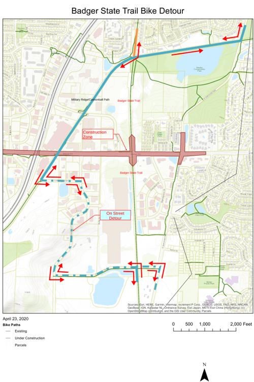 Badger State Trail bike path detour