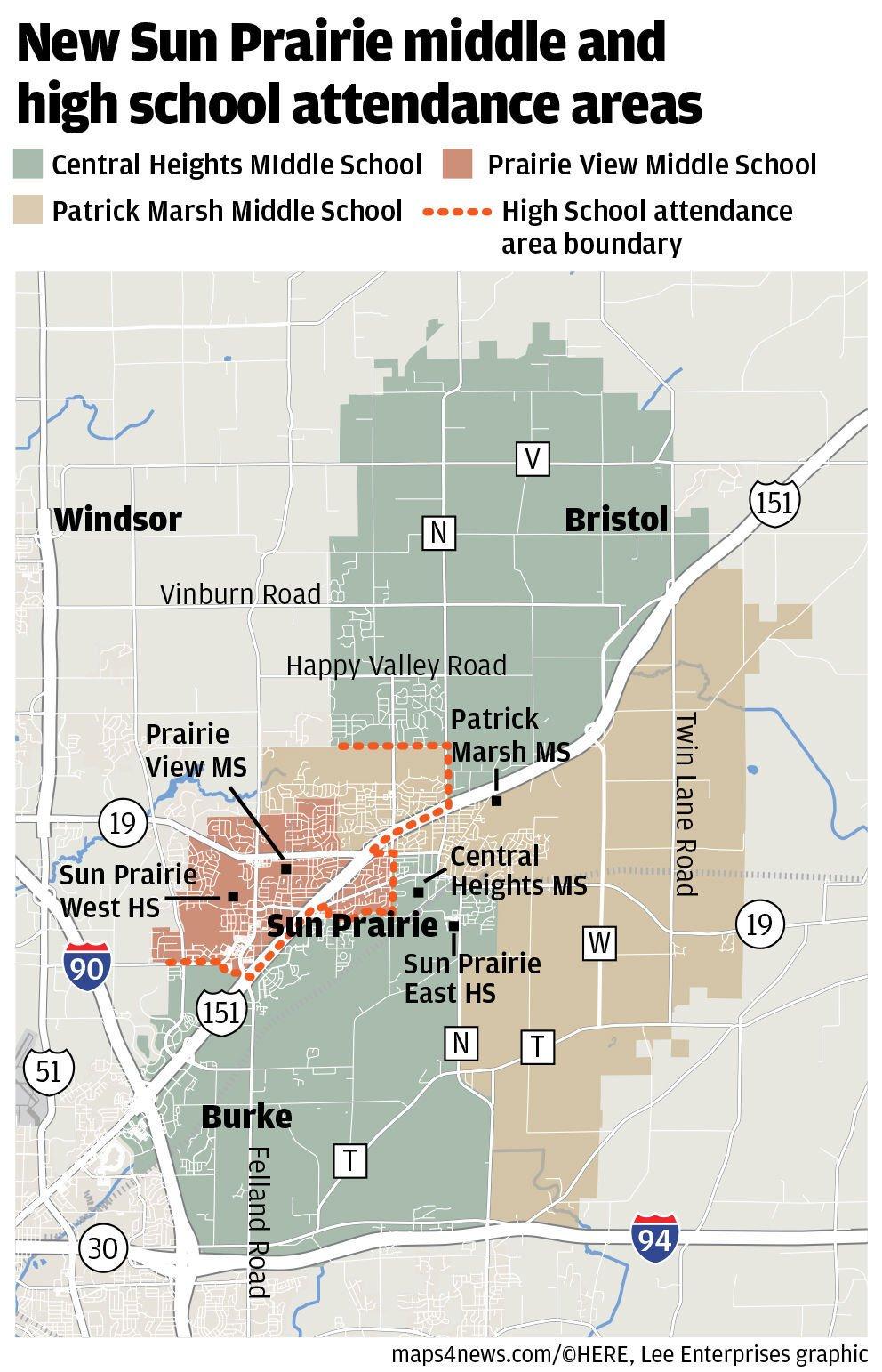 Sun Prairie preferred school attendance areas