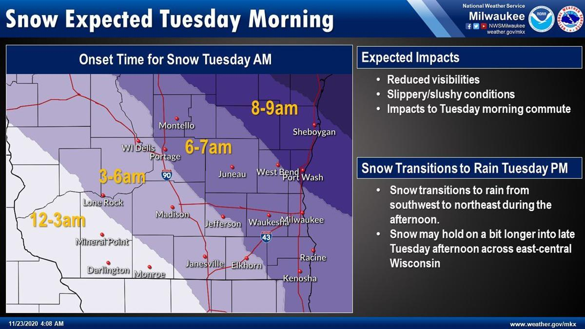 Snow starting times Tuesday by National Weather Service