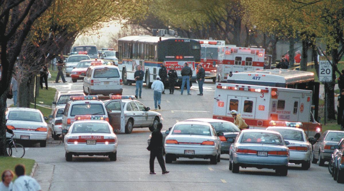 Bus fire scene