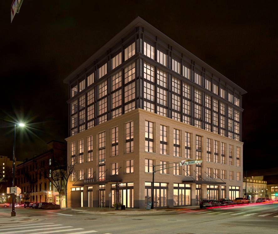 State Street hotel rendering night