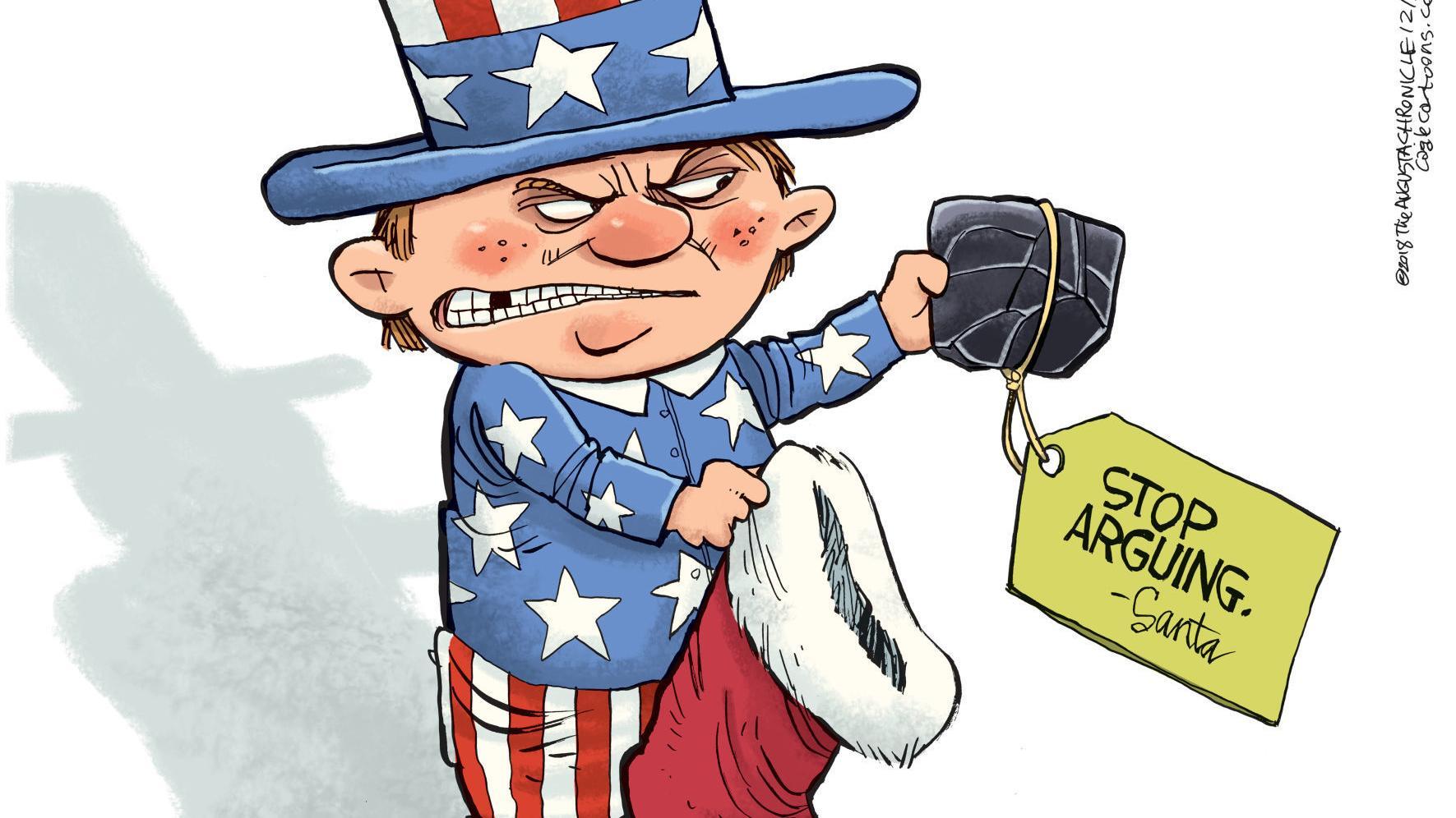 Santa offers America some advice, in Rick McKee's latest political cartoon