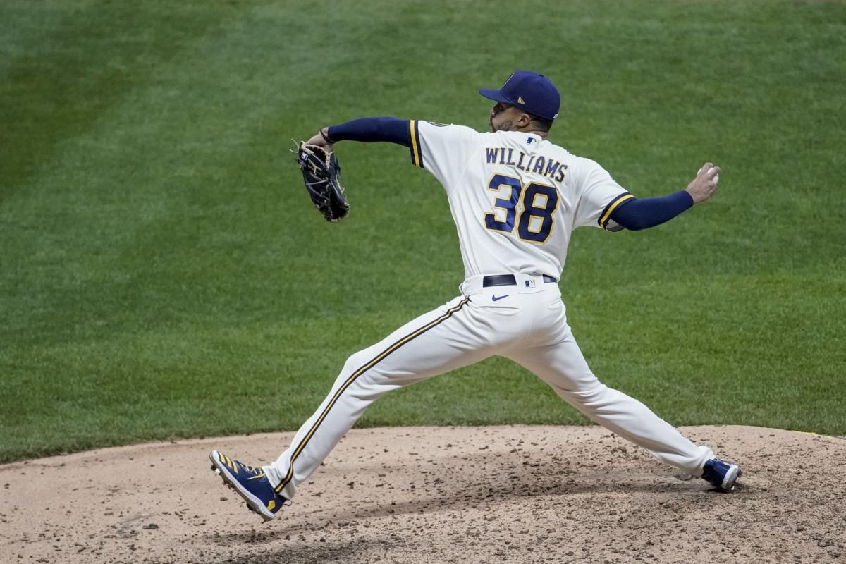 Devin Williams pitches, AP generic file photo