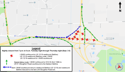 Westbound Highway 12/18 closed at I-39/90 overnight 3 nights