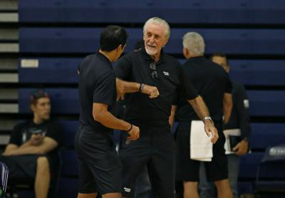 Miami Heat head coach Erik Spoelstra talks with Heat President Pat Riley during practice on the second day of the Miami Heat training camp in preparation for the 2019-20 NBA season at Keiser University on Wednesday, Oct. 2, 2019 in West Palm Beach, Fla.