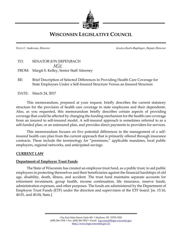 Legislative Council Self Insurance Letter Madison Com