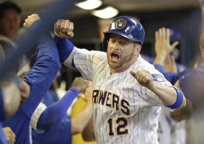 Stephen Vogt, Brewers, AP photo