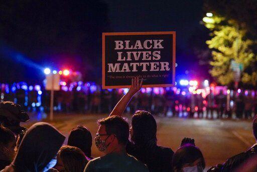 Black Lives Matter sign at Wauwatosa protests, AP photo