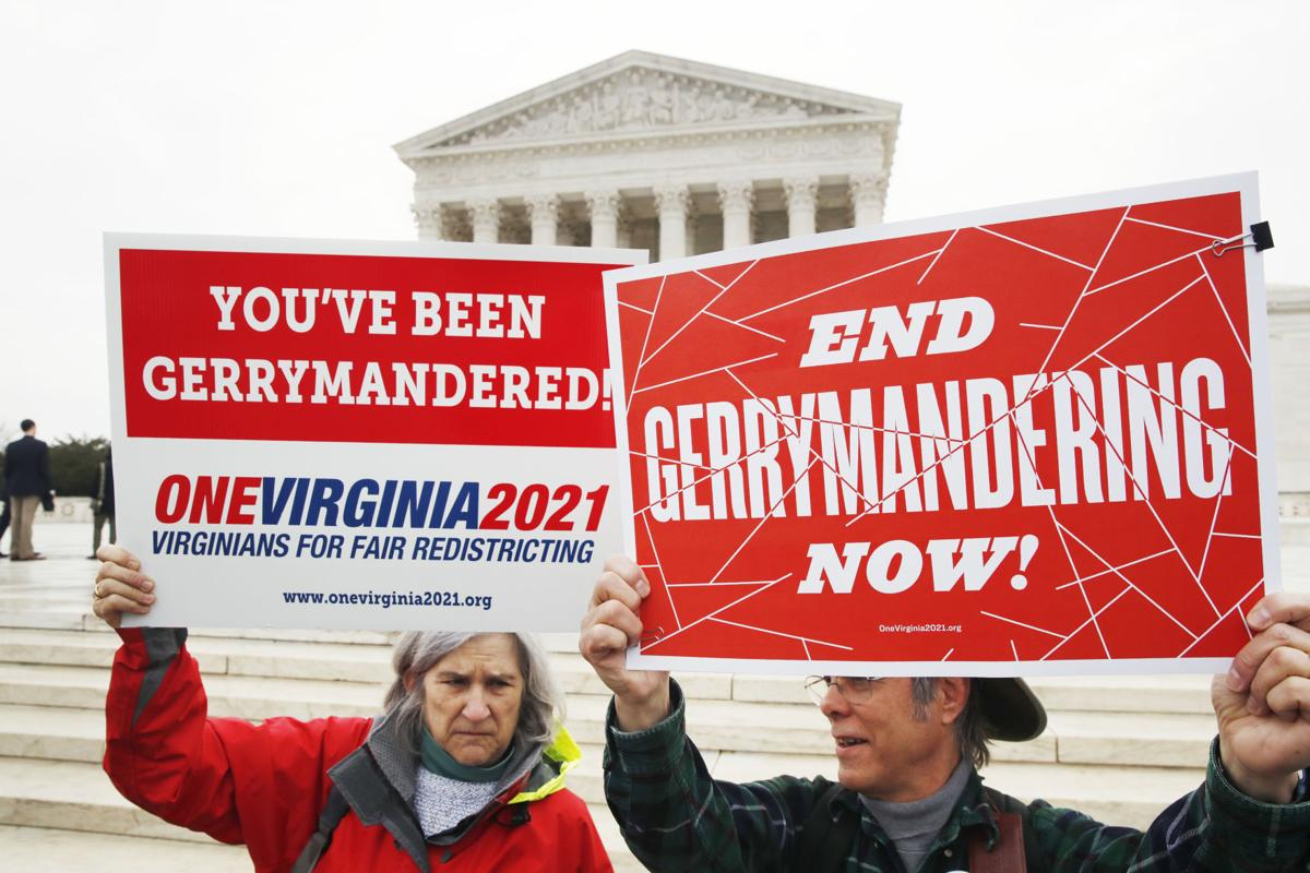 Gerrymandering protesters with signs, AP generic file photo