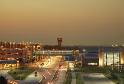 Dane County Regional Airport exterior at night