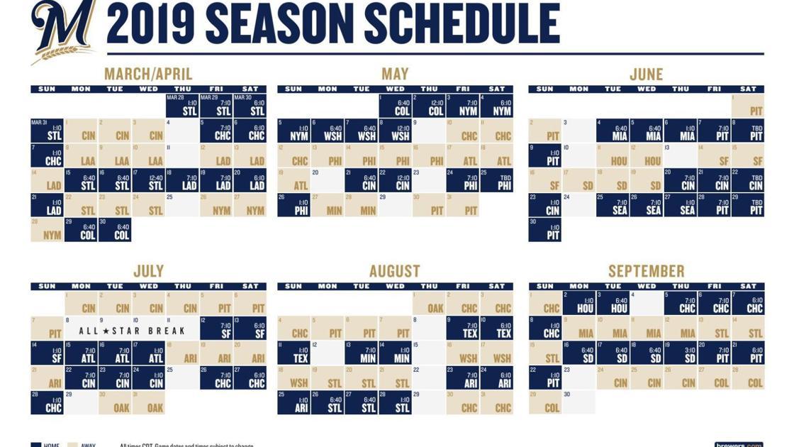 Brewers 2019 Schedule Pdf 2019 Milwaukee Brewers schedule | | madison.com