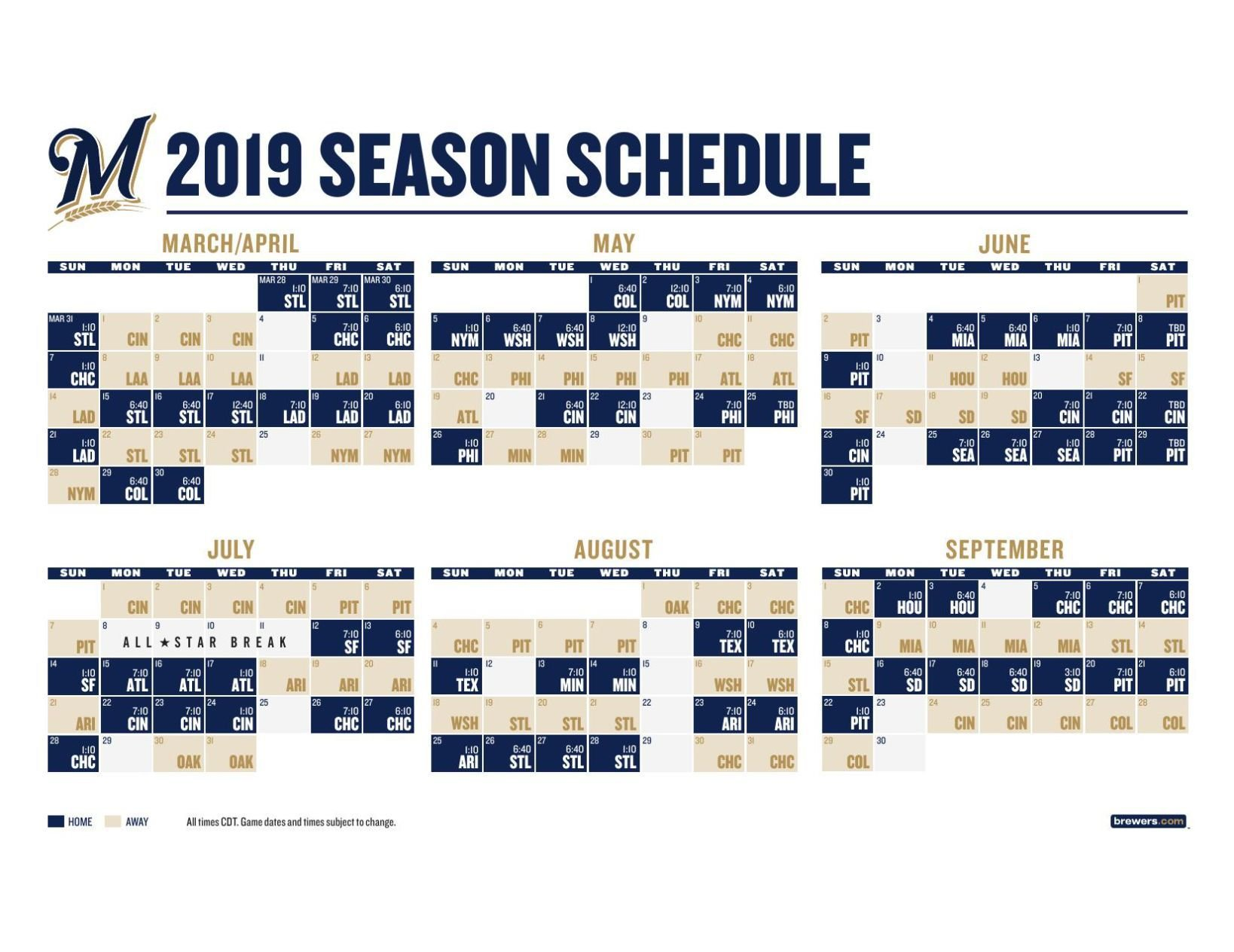 graphic about Brewers Schedule Printable called 2019 Milwaukee Brewers timetable