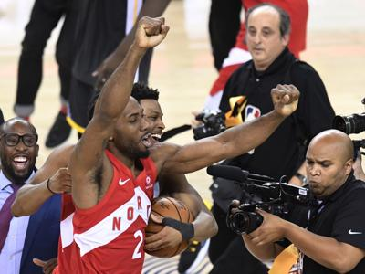 Kawhi Leonard, Kyle Lowry celebrate NBA title, AP photo