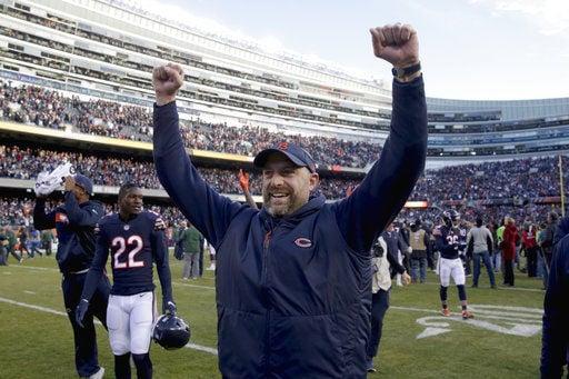 Matt Nagy celebrates NFC North clincher over Packers, AP photo