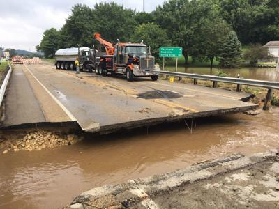 Highway 14 bridge washed out