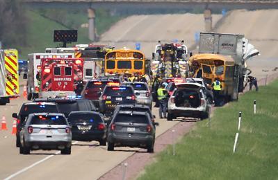 Semi truck and school bus crash