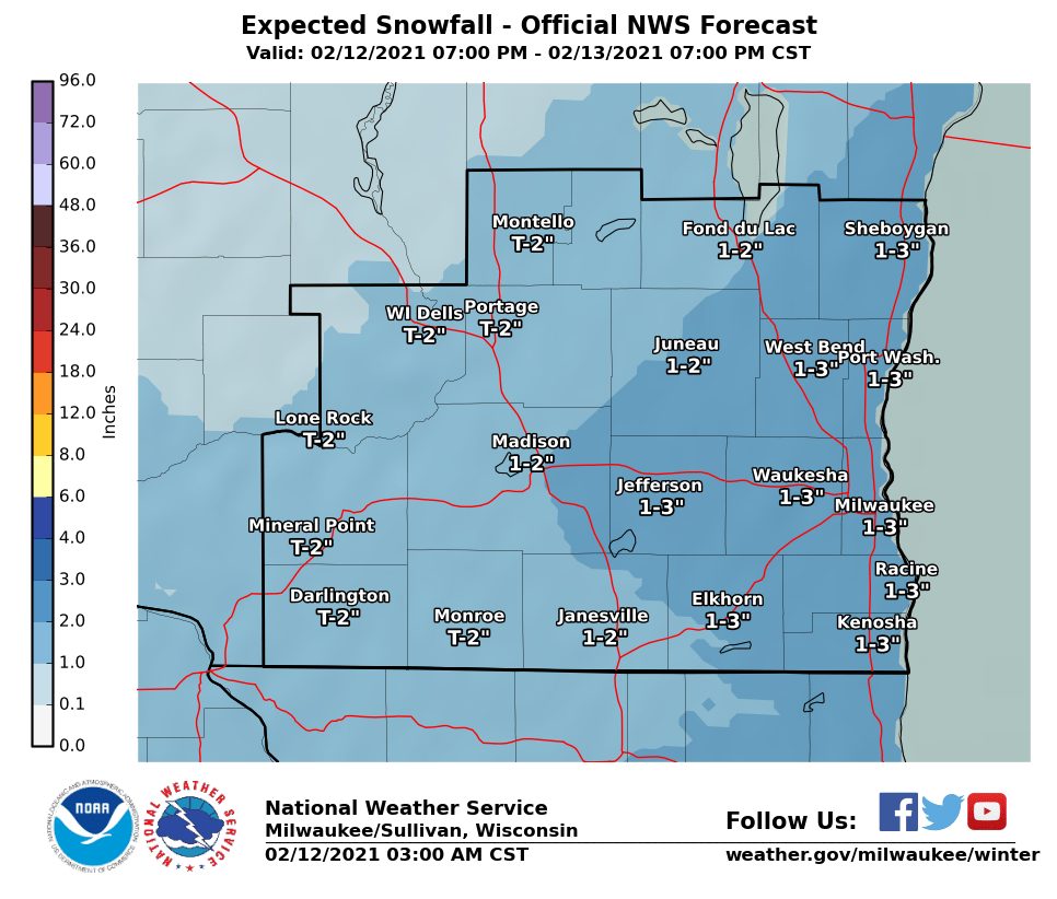 Snowfall Fri night-Sat night by National Weather Service